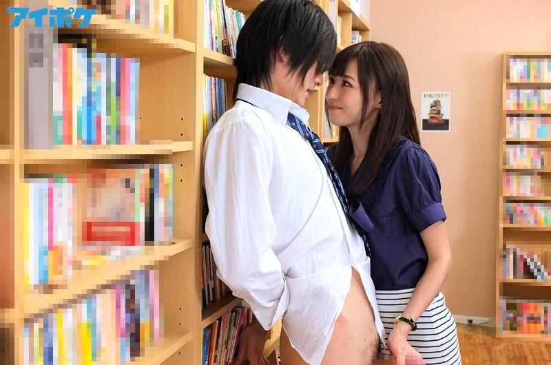 図書室でタイトスカートの女教師に触られたらこんなに硬くなっちゃいました!